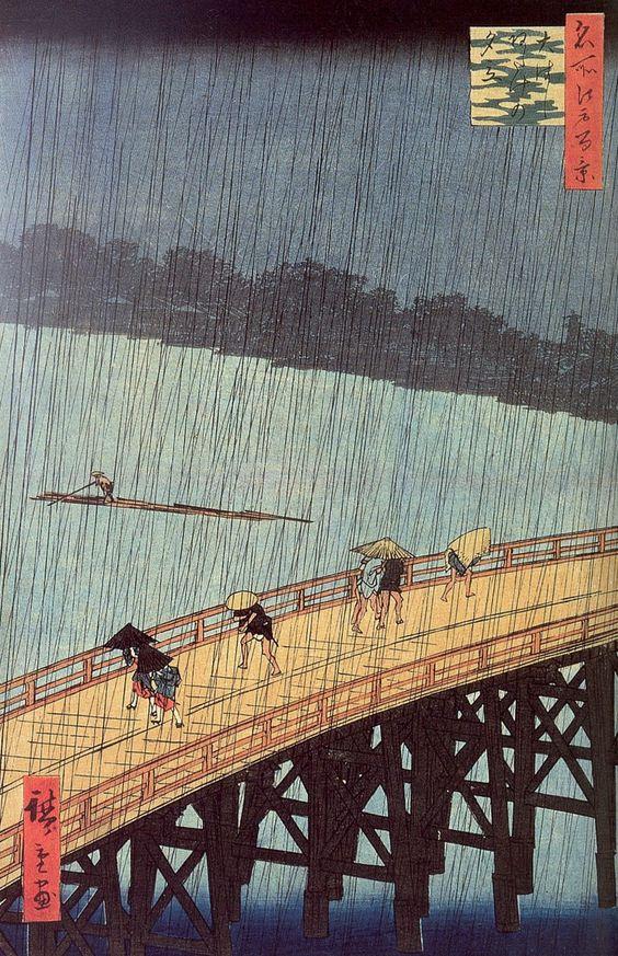 Xilografía policromada de Hiroshige: El puente Ōhashi en Atake bajo una lluvia repentina (1857)