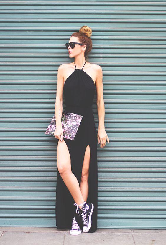 Street Style Vestido Preto Fenda:
