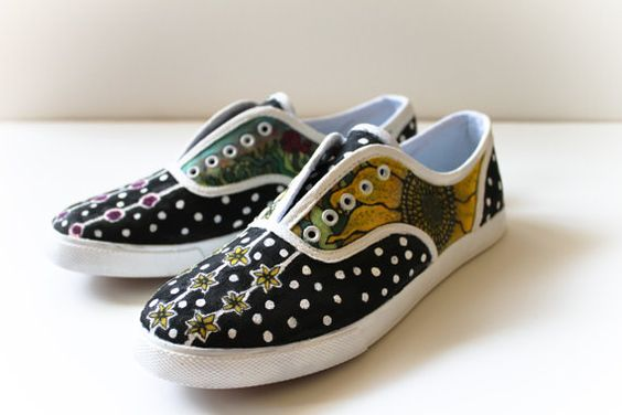 Handdesigned Polka Dotted Flowers Shoe size 75 womens by kipgoods, $68.00
