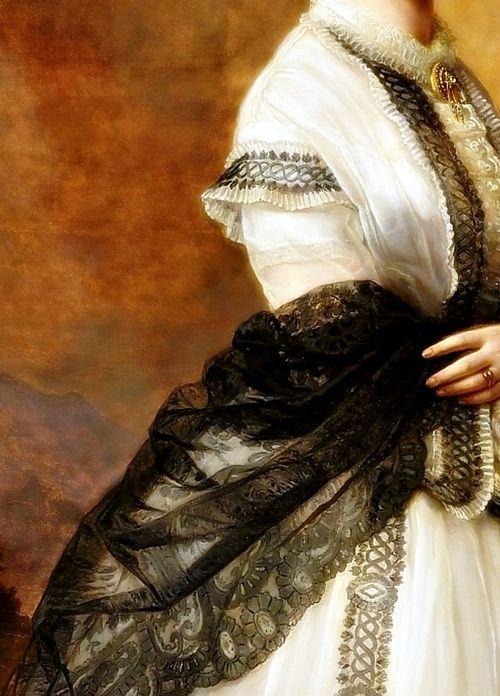 Detalle del Retrato de Maria von Klinckowström. Joseph Hartmann (1812-1885)