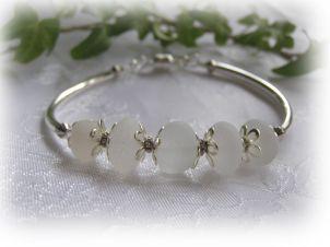 White Beach Glass Bangle Bracelet: