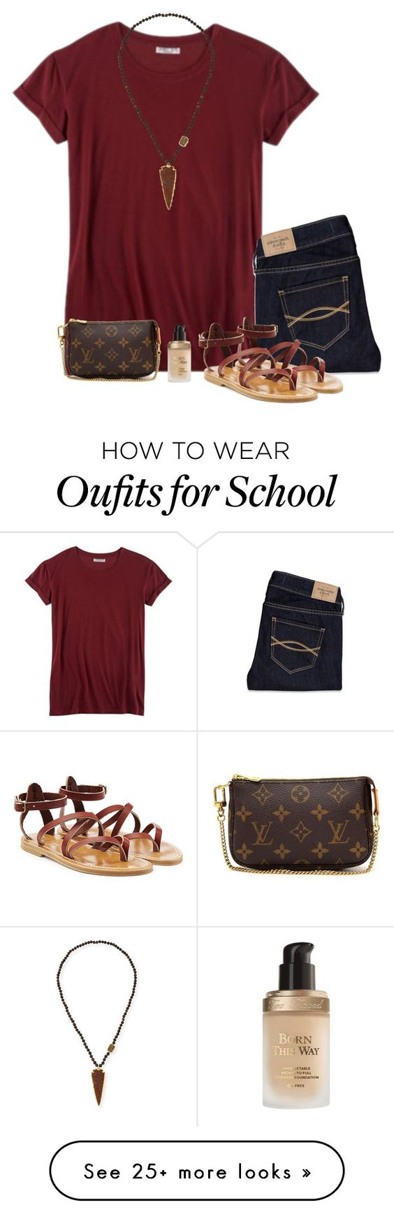 """outfit for school tomorrow"" by lilypackard on Polyvore featuring Hybrid, Abercrombie & Fitch, K. Jacques, NEST Jewelry, Too Faced Cosmetics and Louis Vuitton"
