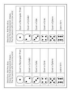 Roll A 3-D Shape Bingo