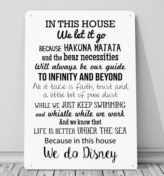 in this house we do disney inspired metal sign plaque wall art home decor