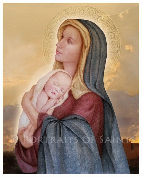Madonna and Child (E) Catholic Art Print Blessed Virgin Mary, Our Lady, Mother's Day
