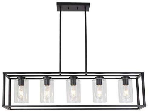 Amazon Com Vinluz Contemporary Chandeliers Black 5 Light Modern Dining Room Light Dining Light Fixtures Dining Room Lighting Modern Dining Room Light Fixtures