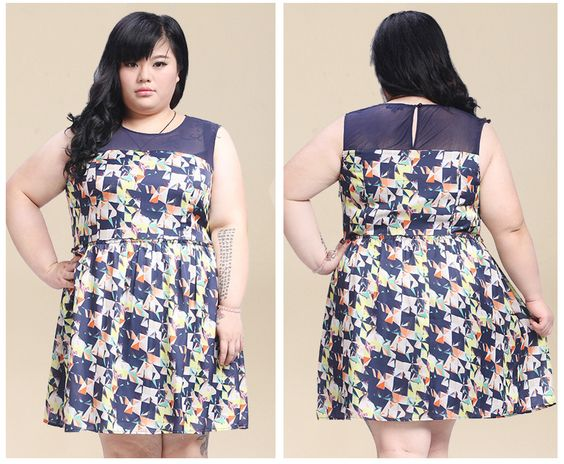 Chiffon geometric print dress US$62.99 up to 6xl China size