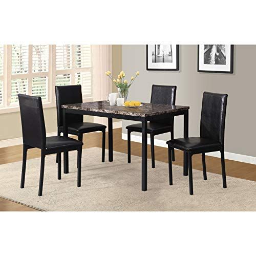 Citico 5 Piece Metal Dinette Set With Laminated Faux Marble Top
