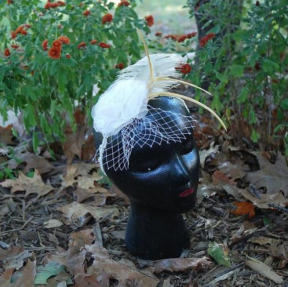 Girl's Vintage Lace and Feather Headband by CraftySuburbMomma, $15.00