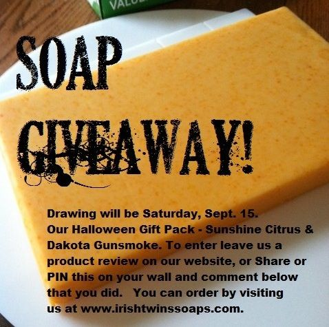 Soap Giveaway!  REPIN and comment for a chance to win our Halloween Gift Pack.  www.irishtwinssoaps.com