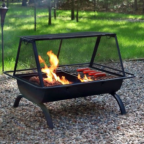 Sunnydaze Northland Fire Pit Grill With Spark Screen Wood Burning Cooking Grate 36 Inch Fire Pit Grill Steel Fire Pit Wood Burning Fires