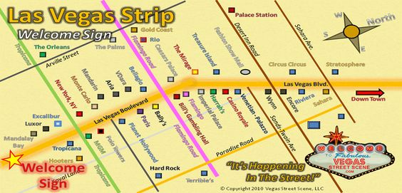 Las Vegas Strip Map To Welcome Fabulous Pinterest And Sign