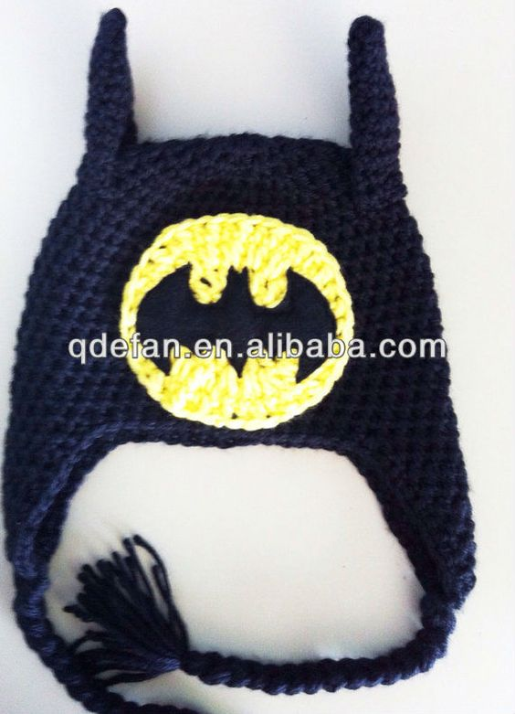 Free Crochet Pattern For Batman Hat : Acrylics, Patterns and Beanie on Pinterest