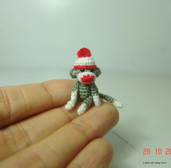 Amigurumi Crochet Sock Monkey : 1 inch crochet christmas grey sock monkey - Tiny amigurumi ...