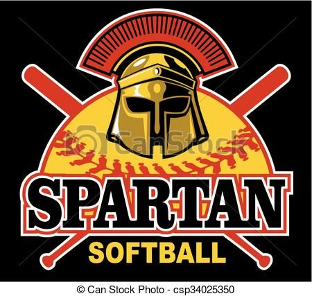 Vector - spartan softball - stock illustration, royalty free illustrations, stock clip art icon, stock clipart icons, logo, line art, EPS picture, pictures, graphic, graphics, drawing, drawings, vector image, artwork, EPS vector art