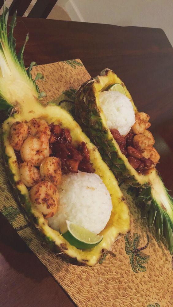 diy pineapple bowl meal with shrimp & homemade teriyaki chicken