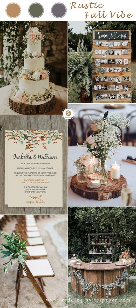 Rustic Fall Wedding Ideas In The Woodland Vintage Wedding Theme Cheap Wedding Invi Fall Wedding Color Schemes Vintage Wedding Theme Fall Wedding Invitations
