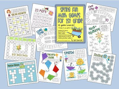 10 Spring Math Games for 1st Grade!  $4.00 on TpT