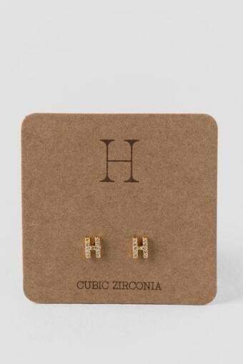 'H' Initial Crystal Stud Earrings
