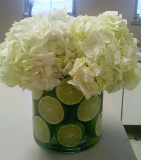 Lime and white hydrangea centerpiece red blue