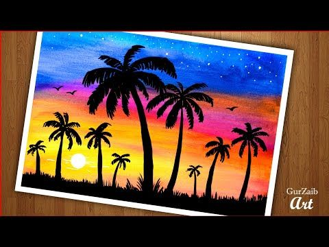 A Very Easy Sunset Scenery Painting Step By Tutorial Drawing For Beginners Y Paintings