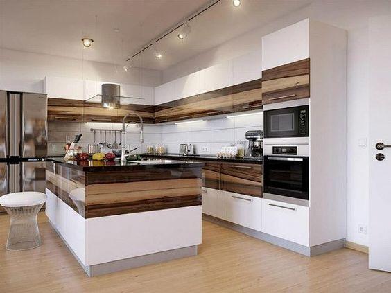 Winkelküche mit kochinsel ,weiß mit holzelementen #deko #dekoration #dekorationsidee #home-decor #decor #interieur #exterieur