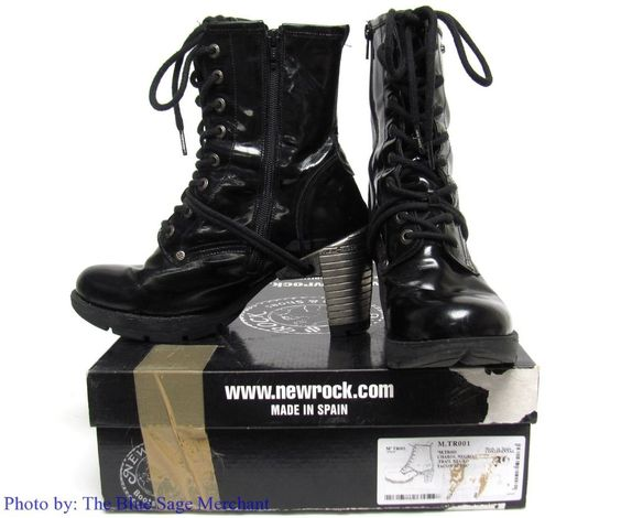 M.TR001 CHAROL NEGRO BLACK SIZE 39 SPAIN 8 US NEW ROCK TRAIL STEEL HEEL BOOTS #NewRock #PlatformsWedges #Party