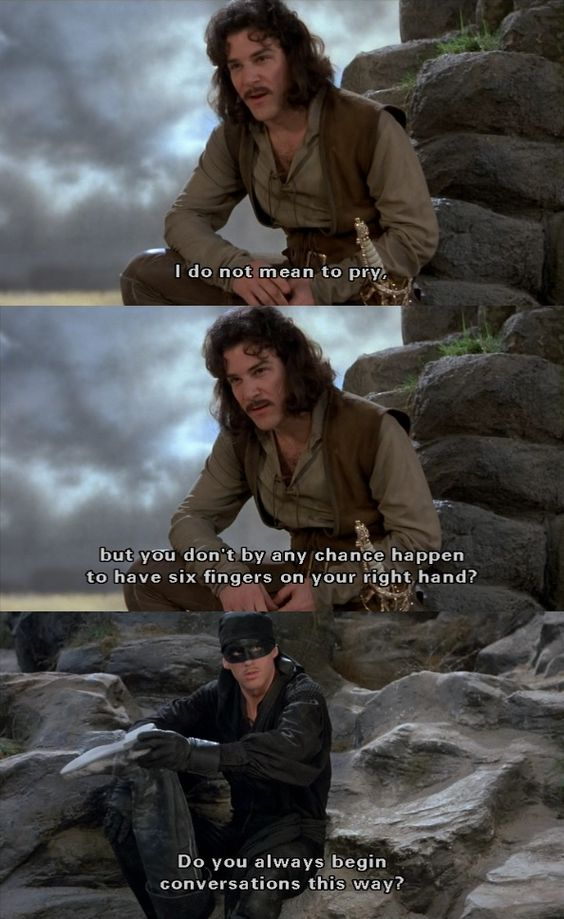 'Do you always begin conversations this way?' (The Princess Bride):