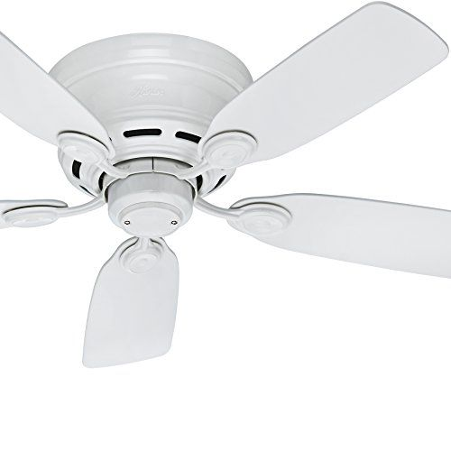 Renewed Hunter Fan 42 inch Low Profile Snow White Indoor Ceiling Fan with Light Kit and Remote Control