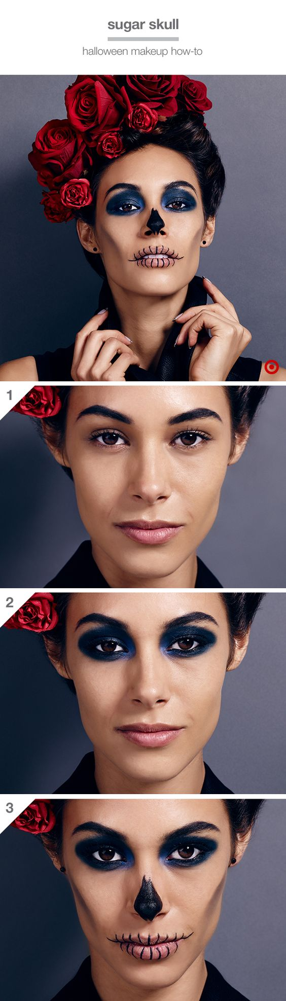 Go all-out with a killer (but easy) Halloween look: 1. Give brows a fierce arch with dark eyebrow wax. 2. Apply dark navy shadow on eyelids, creases and under eyes for a deep-set, dramatic look. Line waterlines with black liner & apply mascara. 3. Apply concealer on lips. Keeping lips closed, draw vertical lines across both lips with black gel liner. Then smudge black costume makeup along the cheekbones and down toward the chin and paint the tip of the nose. Dying to try it? Shop the look.: