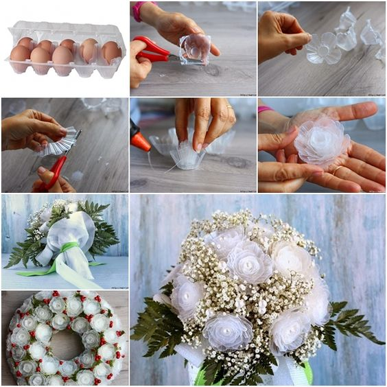 How to Make Plastic Flower Bouquet from Egg Box: