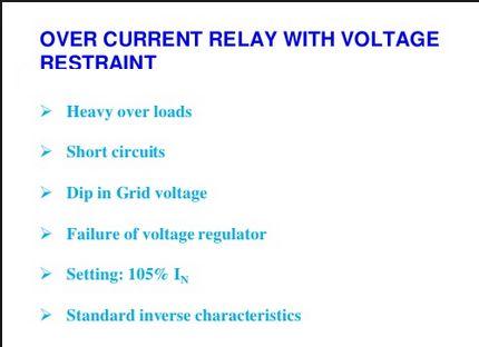 Machine Parts: Generator Voltage restrained Over Current Protecti...
