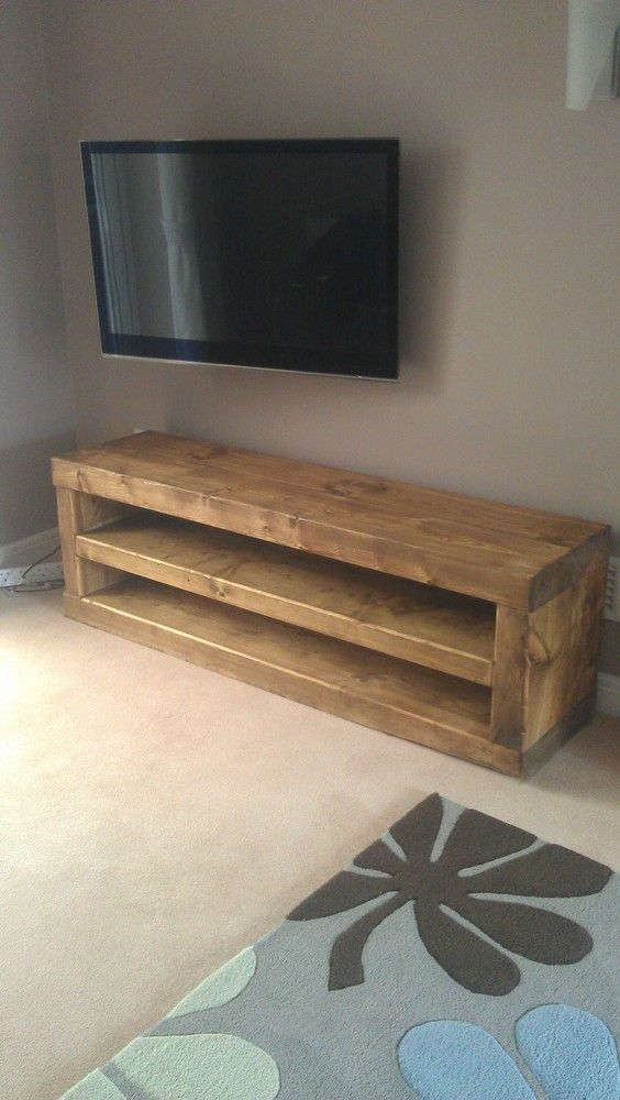Solid Wood Chunky Tv Unit Side Table Caveman Furniture In 2020