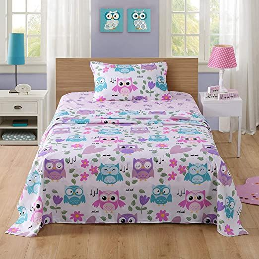 Marcielo Bed Sheets For Kids Twin Sheets For Kids Girls Boys Teens Children Sheets Soft Fitted Flat Printed Shee In 2020 Bunk Bed Sets Kids Bed Sheets Kids Twin Sheets