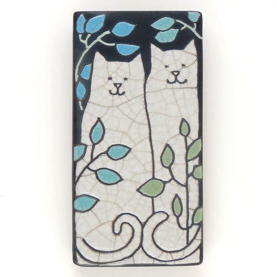 Cats Kitties 3x6 Raku Fired Art Tile Handmade Ceramic