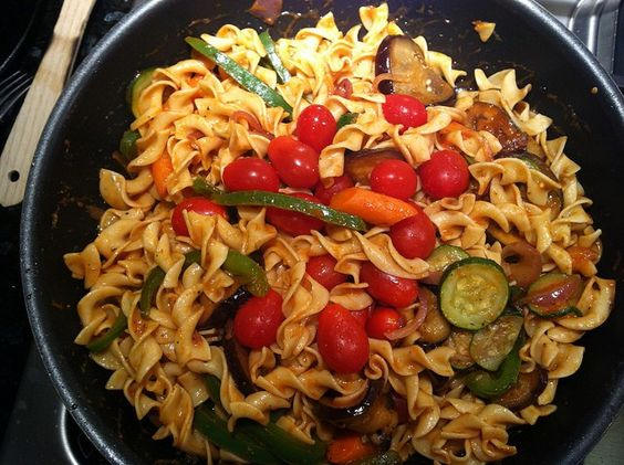 Miso Pasta Primavera. Pasta Primavera with miso dressing is an #Asian twist on this classic #Italian_dish.  Fusili #pasta is tossed with a variety of vegetables with a miso sauce made primarily from vegetable broth and white miso paste.   - Foodista.com