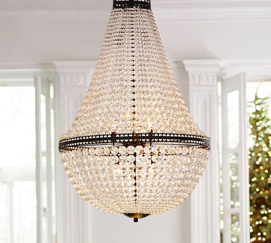 Pottery Barn Simone Vintage Chandelier: Mia Faceted-Crystal Extra Large Chandelier