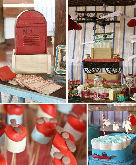 Vintage airplane baby shower full of adorable ideas via for Baby full month decoration ideas