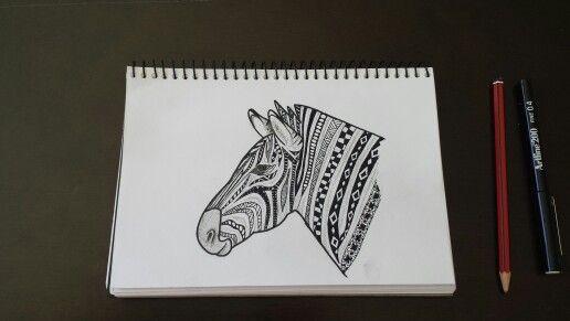 Zentangle zebra 27 oct 13