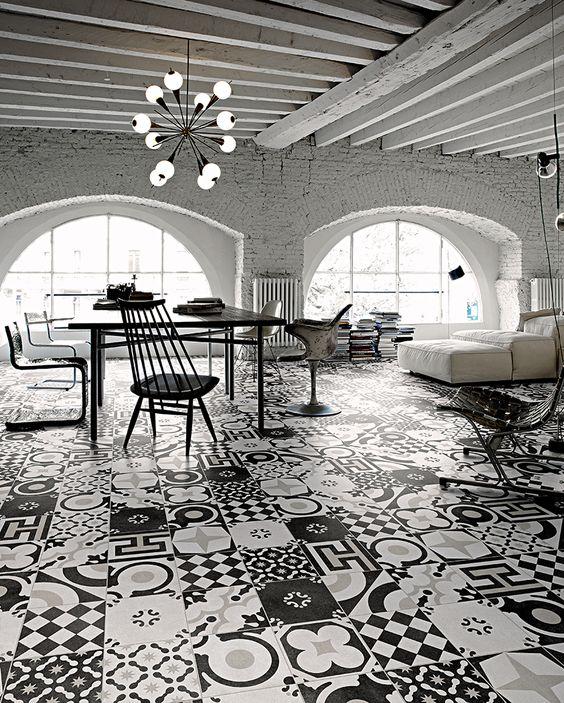 Cementine black white ceramiche fioranese piastrelle in - Piastrelle decorative per esterni ...