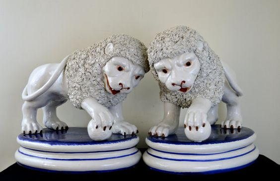 Large 21inch Pair of Staffordshire Style Ironstone by StyleHouseDC