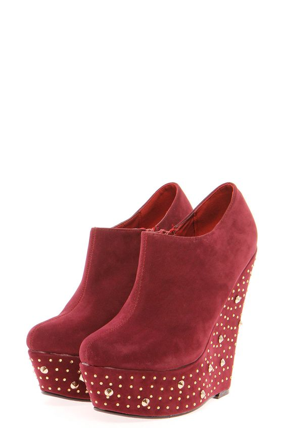 Dina Suedette Shoe Boot With Jewel And Stud Wedge
