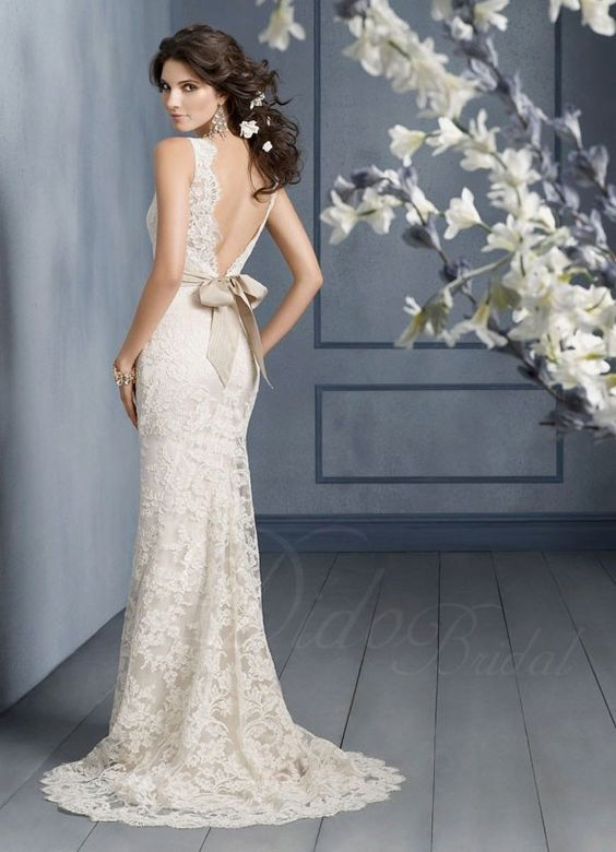 Glamour Sheath Bateau Sweep Train Lace Wedding Dress #Wedding #Dress