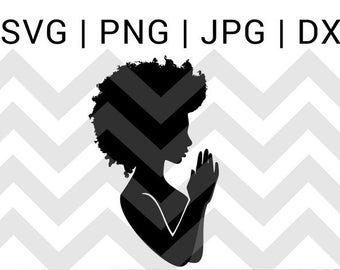 Praying Hands Svg Praying Woman Svg File Black Woman Pray Svg Etsy Hand Silhouette Praying Hands Svg