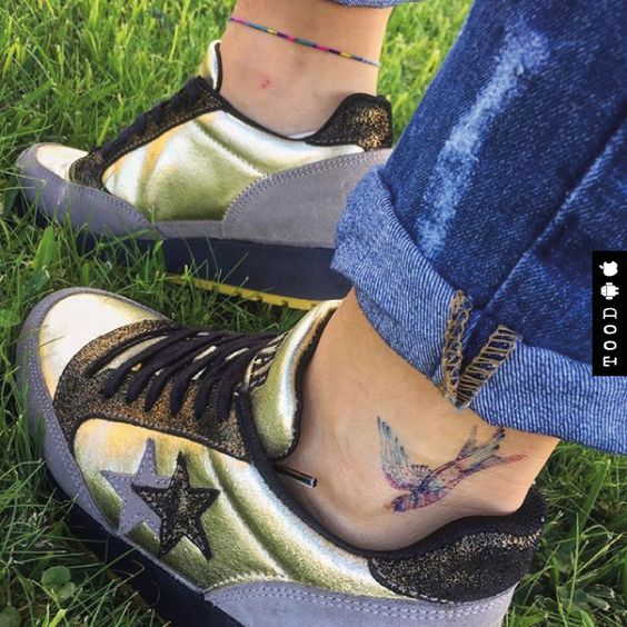 Watercolor swallow temporary tattoo sticker on ankle