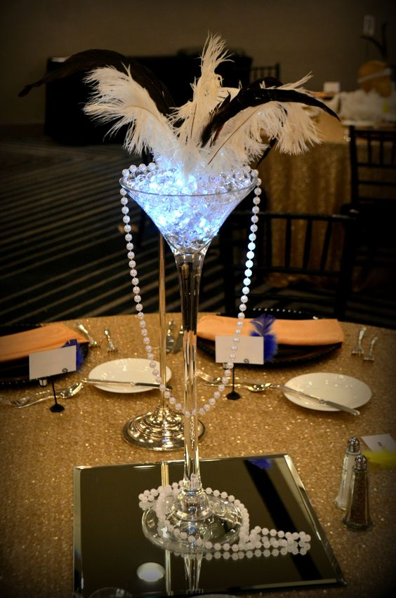 Great Gatsby Centerpiece http://www.idealpartydecorators ...