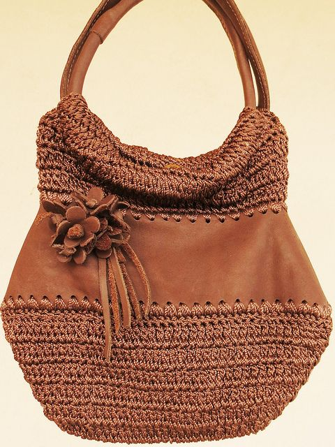 Bolsa De Mão Em Crochet : Bolsa de m?o em couro e croch? by consola??o lac?rte