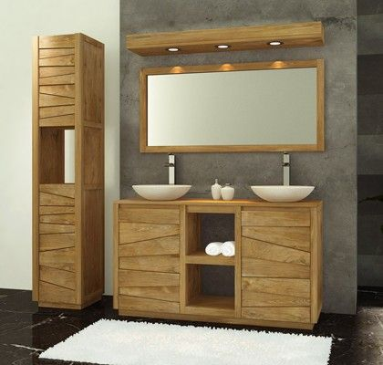 ce meuble bas de salle de bain en teck sobre et l gant de la collection groovy jalousera vos. Black Bedroom Furniture Sets. Home Design Ideas