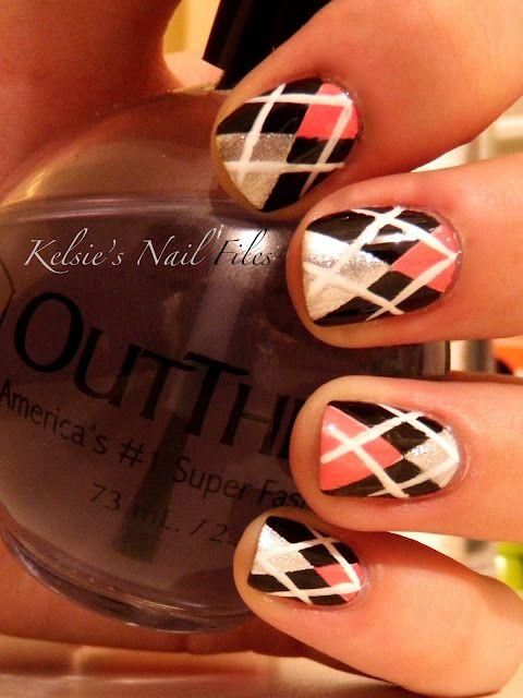 pink black white argyle nail art