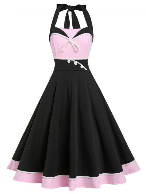Retro A Line Color Block Halter Dress In 2020 Vintage Dresses Vintage Dresses Cheap Womens Vintage Dresses